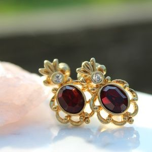 Vintage Gold Tone Ruby Diamond Accent Earrings